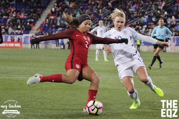 Mallory Pugh gets the shot off under pressure. (MEG LINEHAN/Equalizer Soccer)