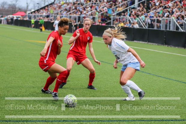 Estelle Johnson, left, and Cameron Castleberry defend against North Carolina in the Spirit's preseason match (photo copyright EriMac Photo for The Equalizer)