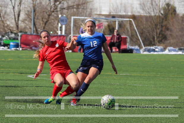 Katie Stengel working for possession against Penn State. (photo copyright EriMac Photo for The Equalizer)