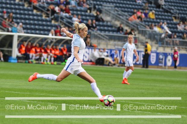 Steph Houghton, here against France, captained the first ever England side to beat the USWNT in the US