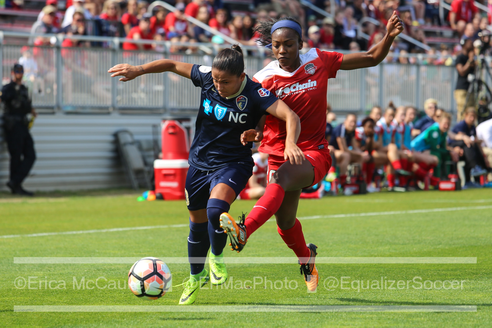 Debinha and Cheyna Williams compete in the Courage's 1-0 win over the Spirit. (photo copyright EriMac Photo for The Equalizer)