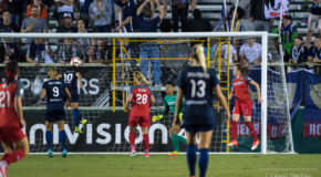 Debinha's late goal lifts Courage over thorns in historic win