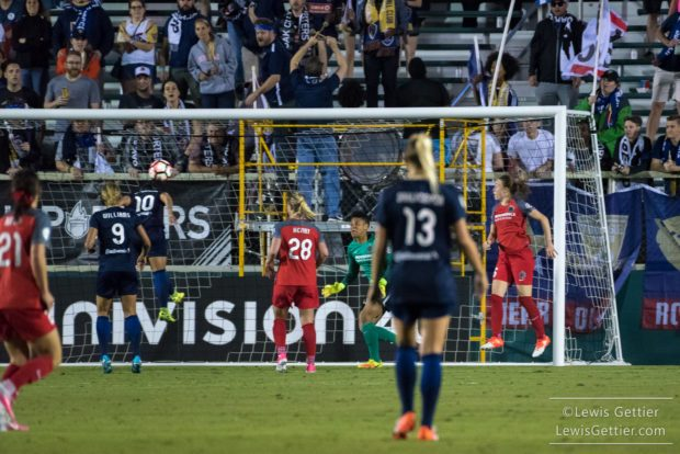 Debinha heads it in as goalkeeper Adrianna Franch and Amandine Henry (28) look on helplessly. (photo ocopyright Lewis Gettier)