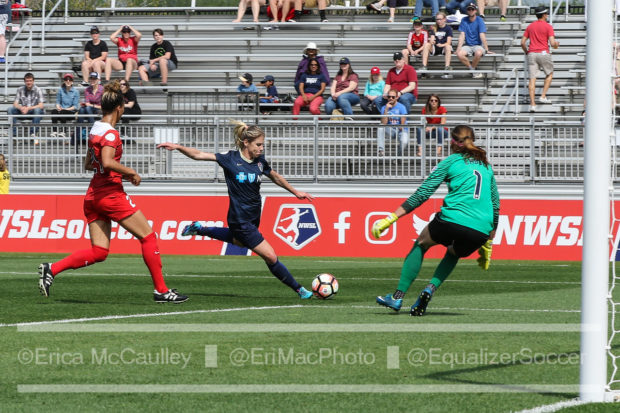 McCall Zerboni getting ready to put away the only goal and the only thing that got by Steph Labbe on Saturday (photo copyright EriMac Photo from The Equalizer)