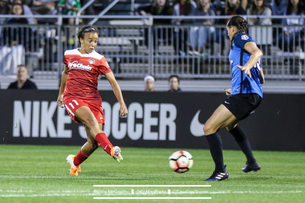 Brittany Taylor of FC Kansas City takes on Mallory Pugh of the Washington Spirit. (photo by Erica McCauley for The Equalizer)