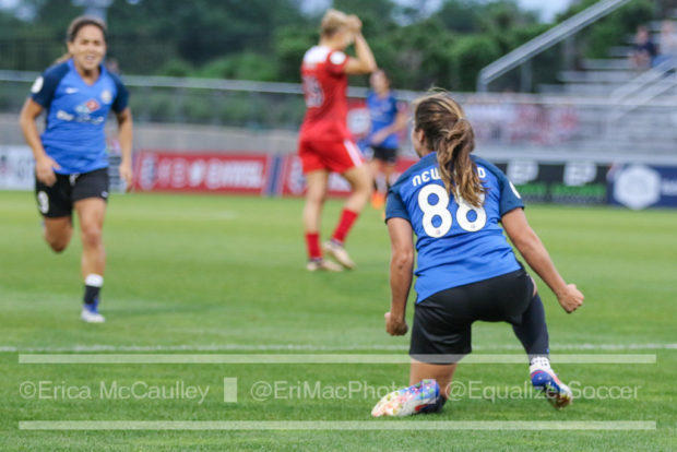 Alexa Newfield dropped to her knees after scoring the game-winning goal against the Spirit. (photo copyright EriMac Photo for The Equalizer)