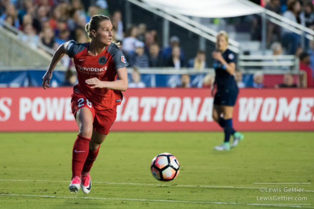 Amandine Henry caused a Julie King own goal and scored her first NWSL goal to lift Portland past Boston. (photo copyright Lewis Gettier)