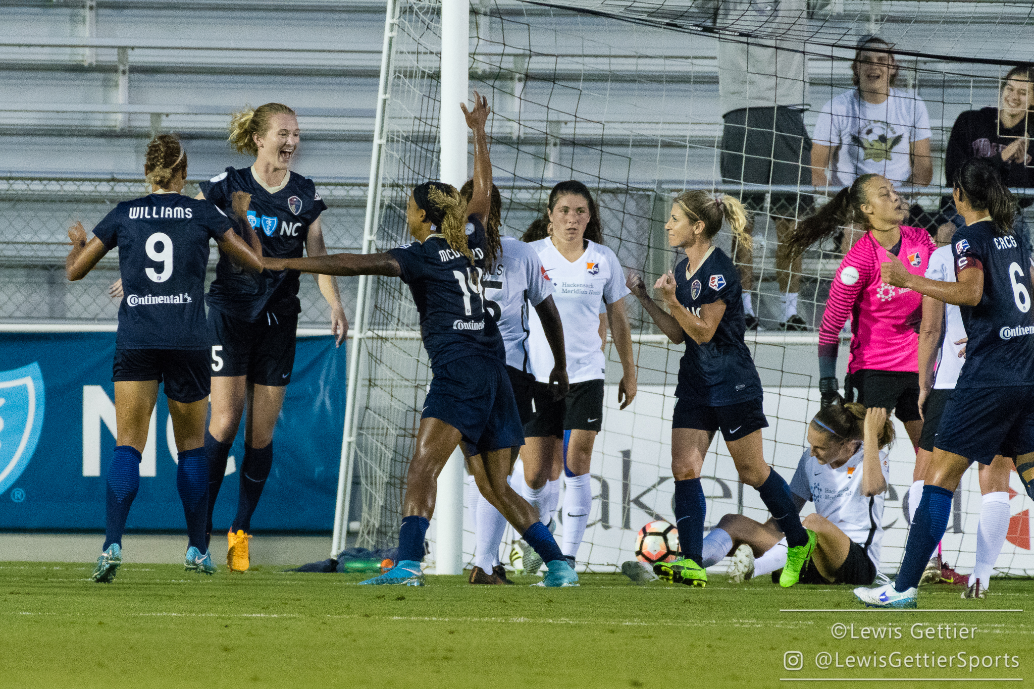 Samantha Mewis celebrates her goal during a match between the NC Courage and Sky Blue FC in Cary, NC in Week 7 of the 2017 NWSL season. Photo by Lewis Gettier.