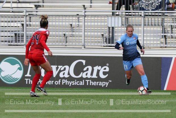 Leah Galton put one away for Sky Blue over the weekend as they defeated the Dash.(photo copyright EriMac Photo for The Equalizer)