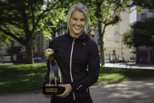 Ada Hegerberg with her BBC World Footballer of the Year trophy.