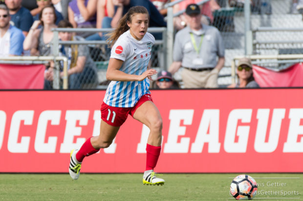 Sofia Huerta's goal on Sunday afternoon helped the Red Stars secure a 3-1 victory over the Courage. (photo copyright Lewis Gettier)