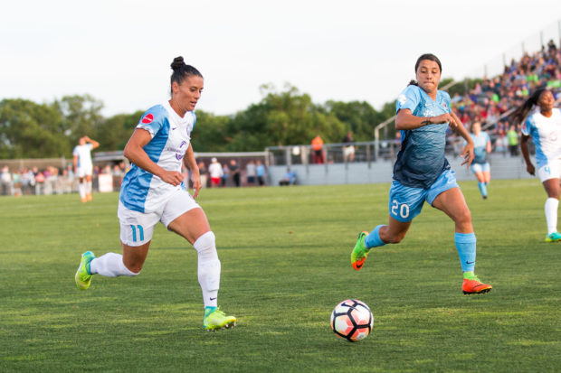 Ali Krieger, working against Sam Kerr, says she'll be ready when Jill Ellis calls her again. (photo copyright Katie Cahalin for The Equalizer))