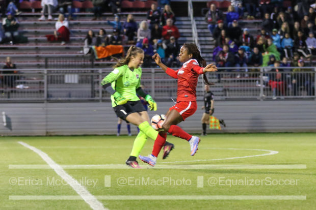 Francisca Orega, right, being challenged by Sky Blue keeper Kailen Sheridan (photo copyright EriMac Photo from The Equalizer)
