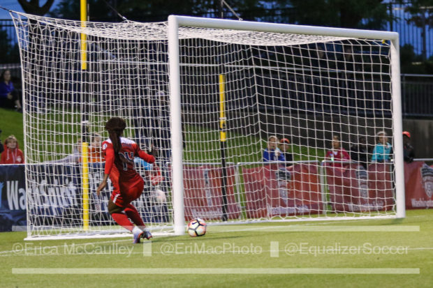 Francisca Ordega finished into the empty net after Kailen Sheridan vacated it for a challenge that didn't quite pan out. (photo copyright EriMac Photo for The Equalizer)