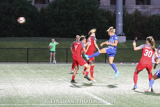 Rosie White heads in the Breakers' second goal of the night on Friday (photo copyright Linehan Photography for The Equalizer)