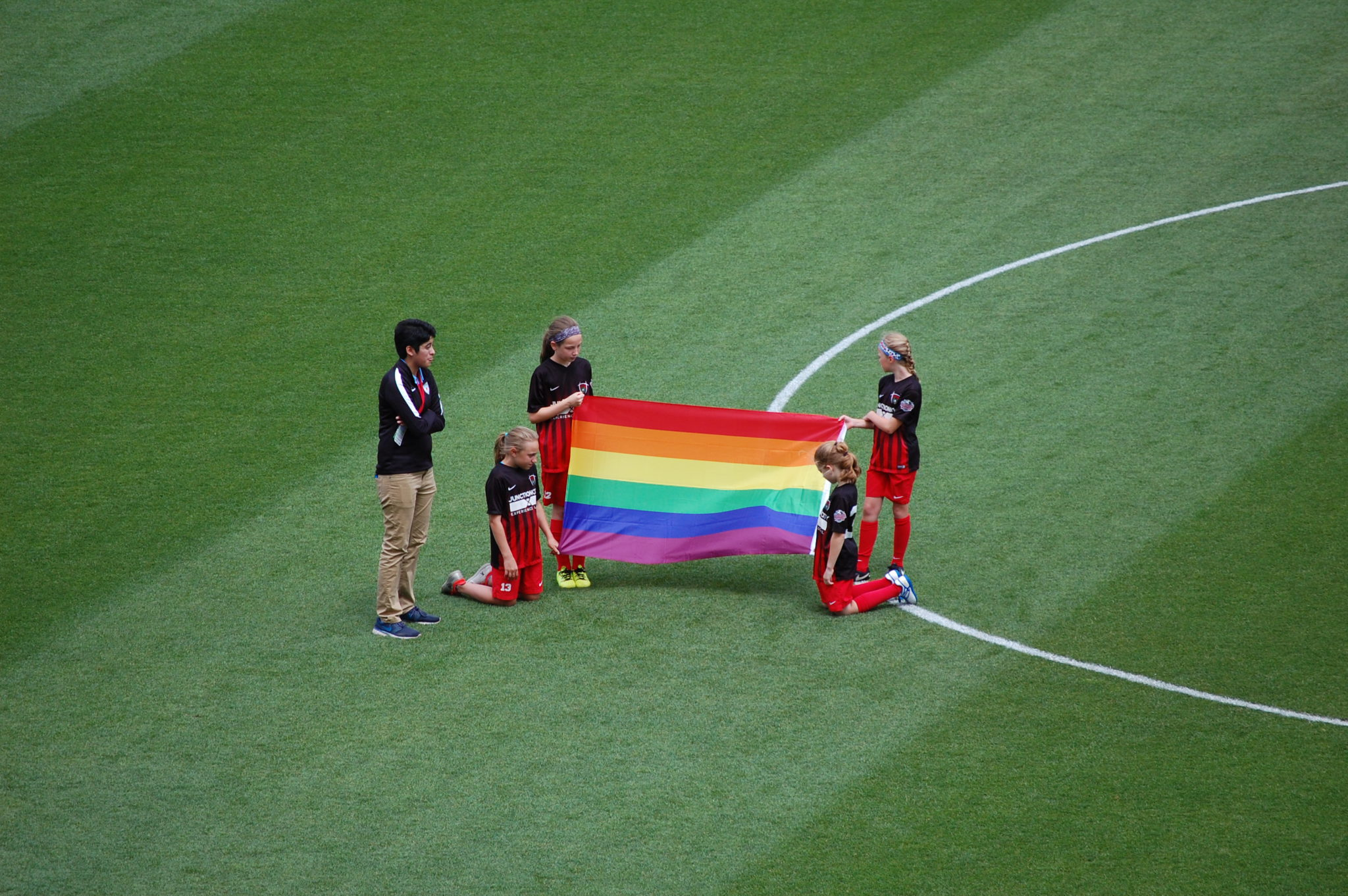 The Pride flag proudly on display ahead of the Red Stars 1-1 draw with the Washington Spirit (photo copyright John D Halloran)