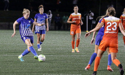 The Dash were able to keep Boston's Natasha Dowie at bay in tonight's 0-0 draw. (photo copyright Linehan Photography for The Equalizer)