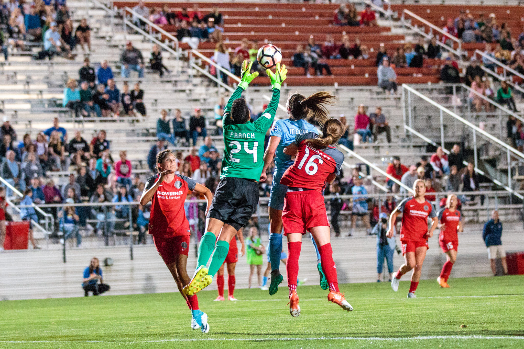 Adrianna Franch controlling her box during the Thorns' 2-0 win over Sky Blue on Saturday night.  (photo copyright Katie Cahalin for The Equalizer)
