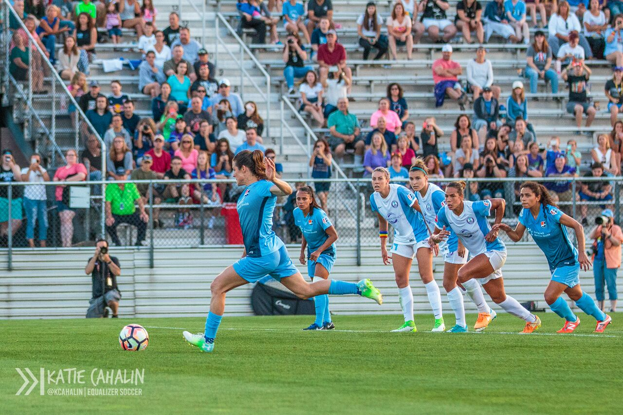 Kelley O'Hara blasts a rocket from the spot, leveling the score at the end of the first half. (photo copyright Katie Cahalin for The Equalizer)