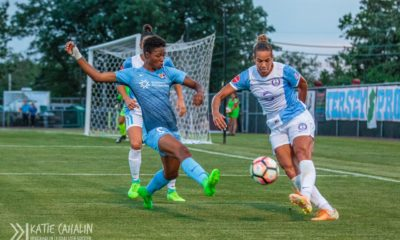 The 27-year old center back for Orlando scores her first goal of the 2017 season with a rocket against FC Kansas City. (photo copyright Katie Cahalin for The Equalizer)