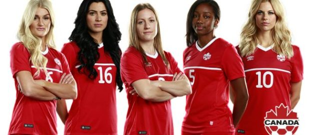 Canada WNT retirees Kaylyn Kyle, Jonelle Filigno, Josee Belanger, Robyn Gayle and Lauren Sesselmann will be honored on June 11. (photo courtesy Canada Soccer)