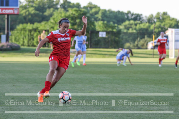 Mal Pugh on Saturday night against the Dash. The 19-year old scored her first professional goal in the game (photo copyright EriMac Photo for The Equalizer)