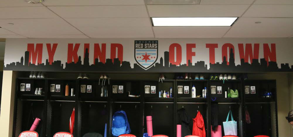 The Red Stars' My Kind of Town logo adorns their new locker room at Toyota Park (photo by Anna Kane)