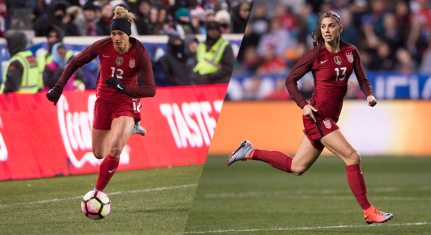 Alex Morgan, right, has a hamstring injury. Lynn Williams will replace her on next week's USWNT roster (photo: US Soccer)