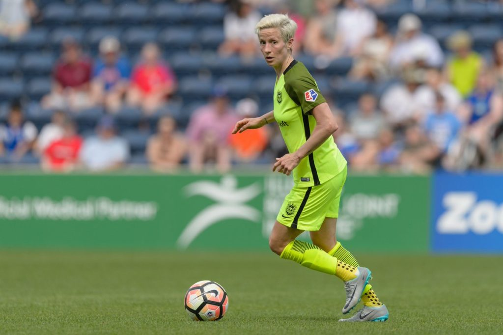 Megan Rapinoe scored both goals in this weekend's 2-0 victory over Portland, putting her at the top of the table with nine goals on the season. (Photo: Seattle Reign FC)