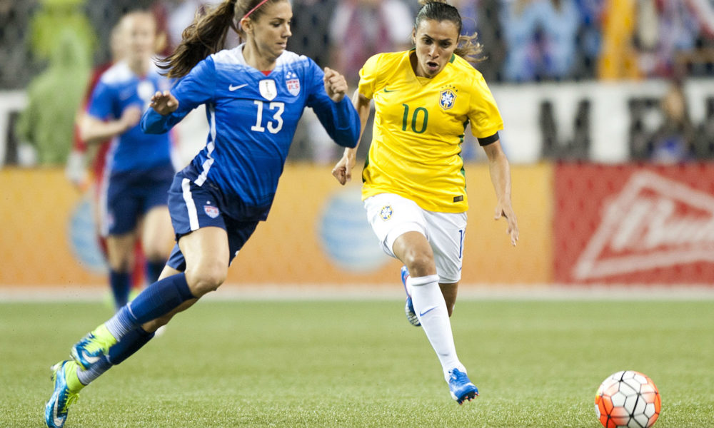 Alex Morgan and Marta are two of seven Orlando Pride players included on Tournament of Nations rosters. (photo copyright Patti Giobetti for The Equalizer)