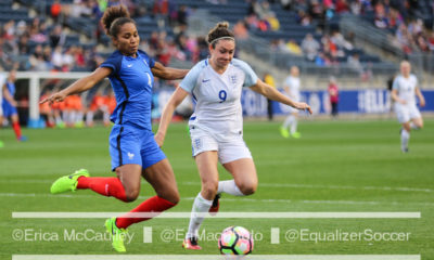 Jodie White, here playing in the 2017 SheBelieves Cup, scored a hat trick in England's 6-0 win over Scotland. (photo copyright EriMac Photo for The Equalizer)