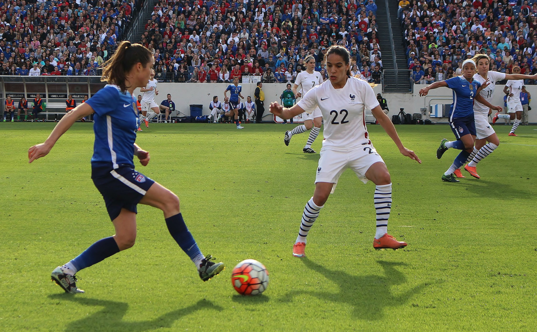 Amel Majri was ruled out of the EUROs after spraining her ankle. (photo by Allison Lee)