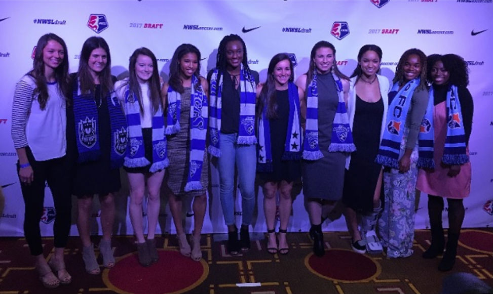 The ten players selected in the first round of the 2017 NWSL College Draft. (photo by Kieran Thievam)