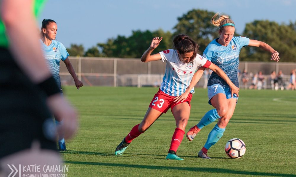 Christen Press, in white, had a goal and and assist on Saturday, but her coach was asked about the chances she missed (photo Katie Cahalin for The Equalizer)