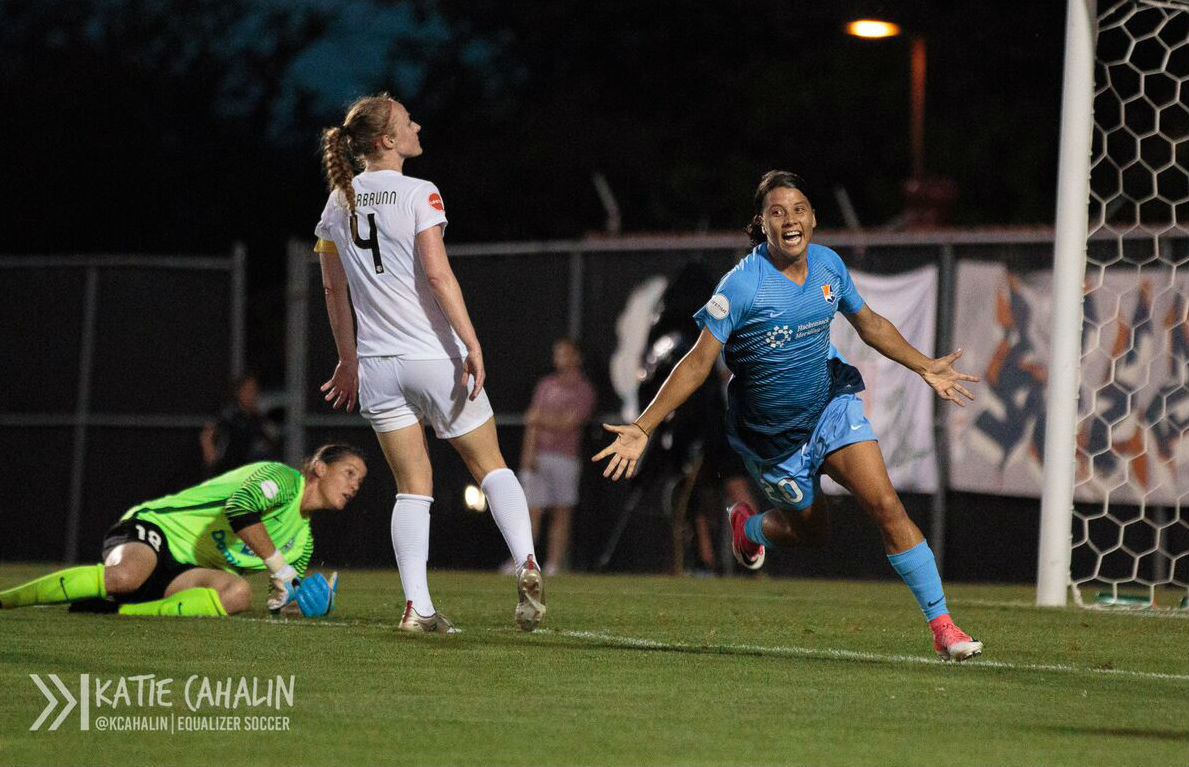 Sam Kerr celebrates after scoring her third goal to complete the hat trick and secure the win for Sky Blue. (photo copyright Katie Cahalin for The Equalizer)