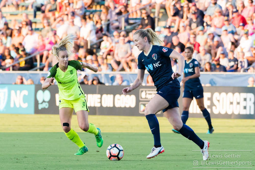 Sam Mewis played a full 90 for the Courage, just two days after playing a full 90 for the USWNT. (photo by Lewis Gettier)