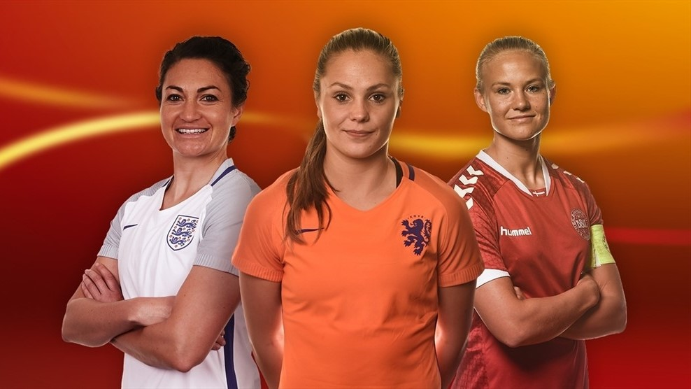 Jodie Taylor, Lieke Martens and Pernille Harder were all named to the EURO 2017 Best XI. (graphic courtesy of UEFA)