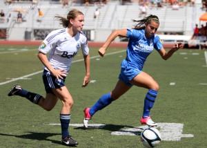 Blue Heat's Sydney Vermillion and Vancouver's Jenna Richardson