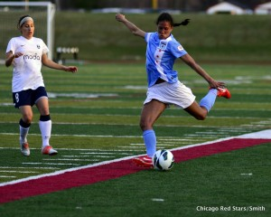 Shannon Boxx (right) won't return for the rest of the NWSL season. (Photo Courtesy: Chicago Red Stars/Smith)
