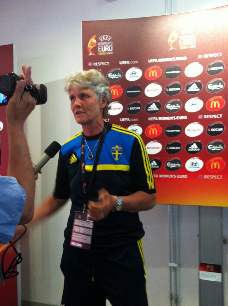 Sweden coach Pia Sundhage. (Photo Copyright Harjeet Johal for The Equalizer)
