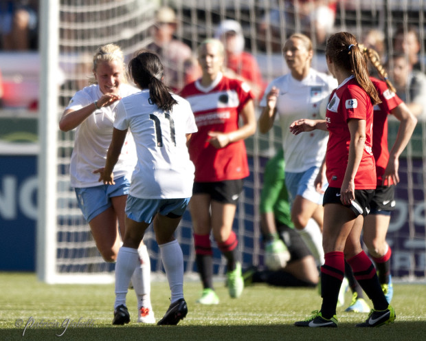 Alyssa Mautz (left) scored for Chicago in a 1-1 preseason draw vs. FC Kansas City. (Photo Copyright Patricia Giobetti)