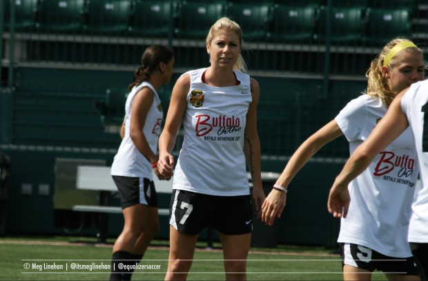 McCall Zerboni has appeared in 82 of a possible 86 matches while playing for the Flash, Thorns, and Breakers (Photo copyright Meg Linehan for The Equalizer)