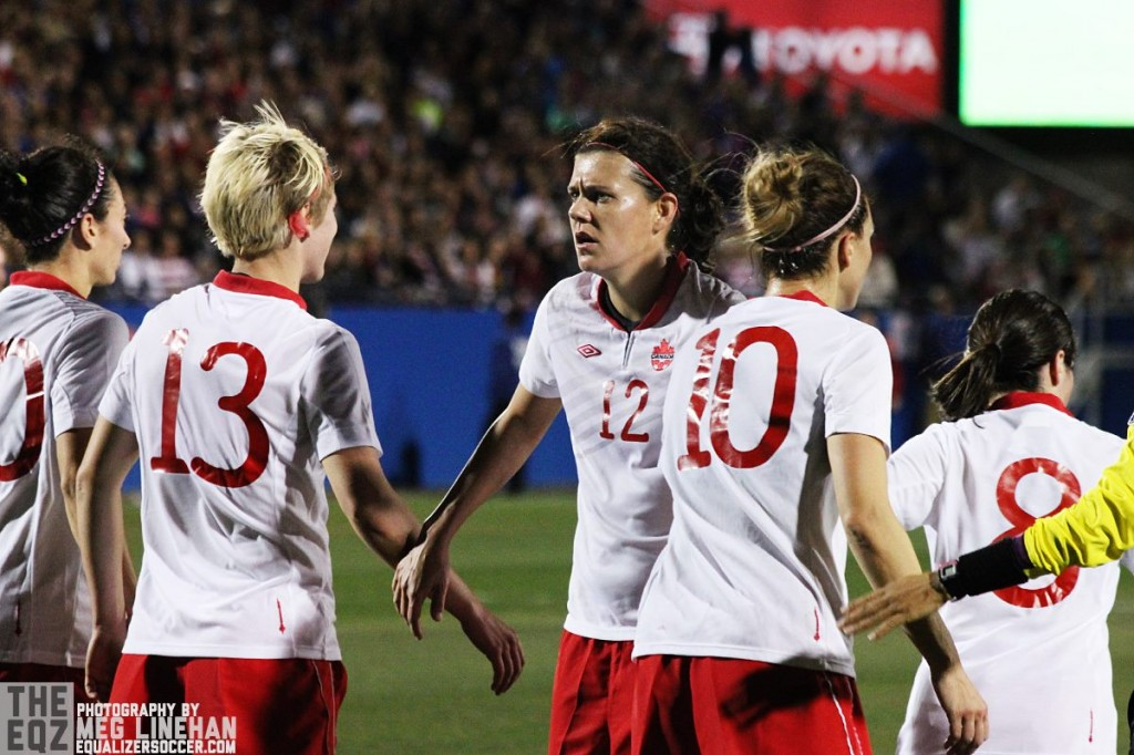Christine Sinclair and Canada in action at Toyota Stadium in Frisco, Texas, which will host 2016 CONCACAF Olympic qualifying along with Houston. (Photo copyright Meg Linehan for The Equalizer.)
