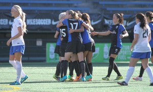 Seattle Reign FC celebrated their first trophy last week, the 2014 NWSL Sheld for best regular season record.  (Photo Copyright Denise McCooey/Prost Amerika)