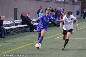 Boston Breakers forward Jazmine Reeves scored a hat trick against Portland on May 28. On Thursday, she retired. (Photo Copyright Clark Linehan for The Equalizer)