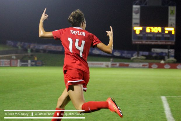 Jodie Taylor, shown here with Portland Thorns FC, returned to England's lineup Tuesday and scored the match winner against the Netherlands. (Photo Copyright Erica McCaulley for The Equalizer)