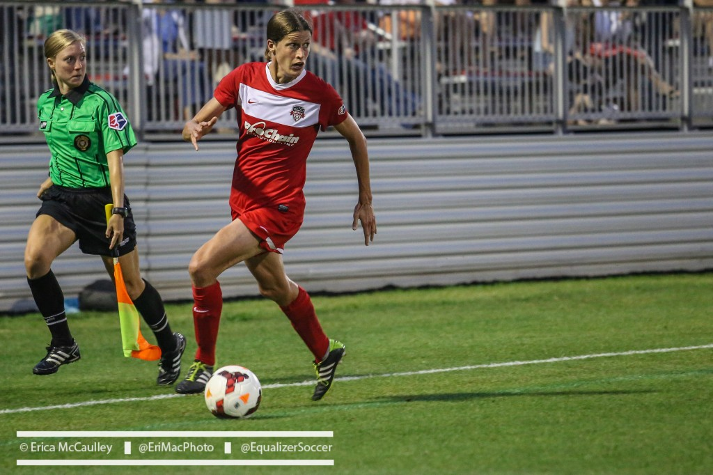 Kerstin Garefrekes scored Washington's opener in a 2-1 win over FC Kansas City on Wednesday. (Photo Copyright Erica McCaulley for The Equalizer)