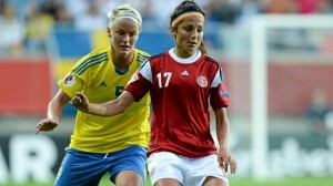 Nadia Nadim (right) was not named to Denmark's Algarve Cup roster as she continues recovering from ACL surgery. (Photo: UEFA)
