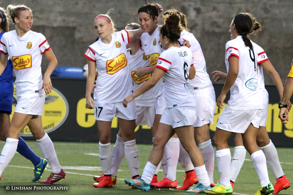 The WNY Flash celebrate Abby Wambach's second goal on Sunday. (Photo Copyright Clark Linehan for The Equalizer)