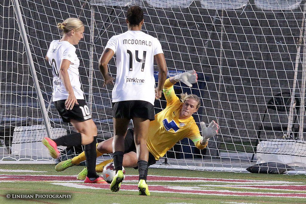 Alyssa Naeher made 12 saves in the Breakers' 2-0 win over Portland. (Photo Copyright Clark Linehan for The Equalizer)